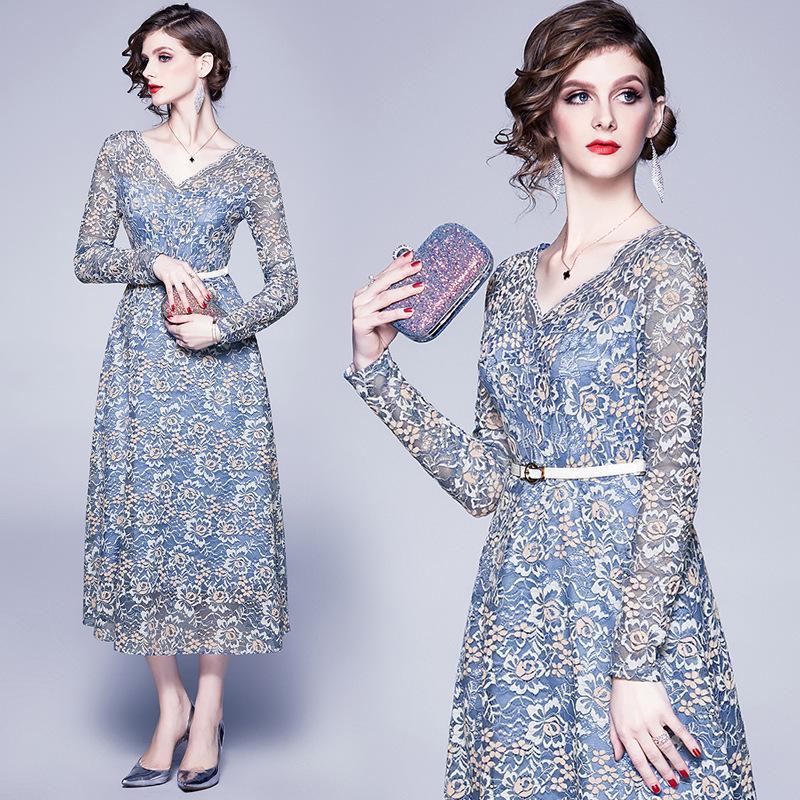 Abito a maniche lunghe della molla donne Blue Lace Vestiti casual Mujer 2020 Grande swing Midi partito del vestito Glamaker Moda Feminina
