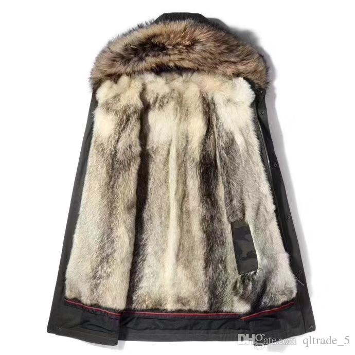 High quality natural coyote fur lining long parka with brown raccoon fur trim men fur jackets YKK ZIPPER Cold resistant snow parkas