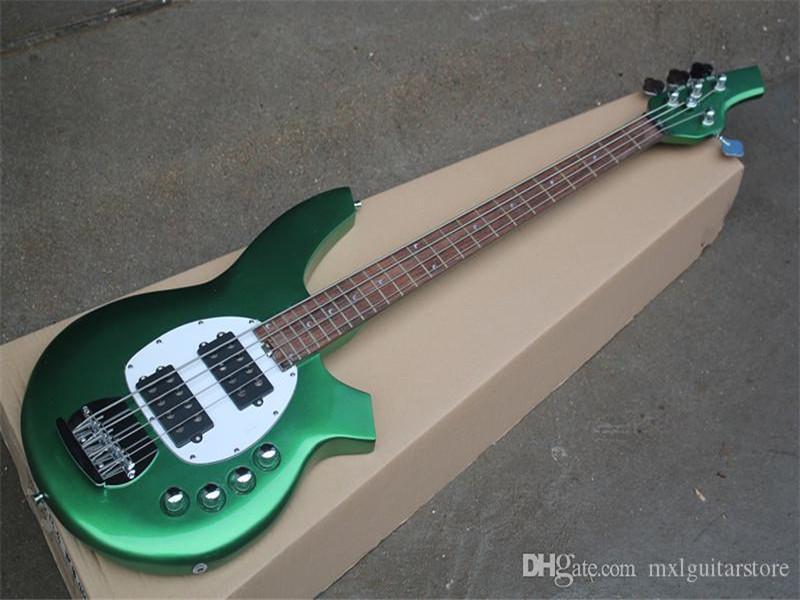 Beyaz Pickguard, Gülağacı TUŞE, Krom donanımlarla olan metal Yeşil 4 Strings Elektrik Bas Gitar, özelleştirilebilir