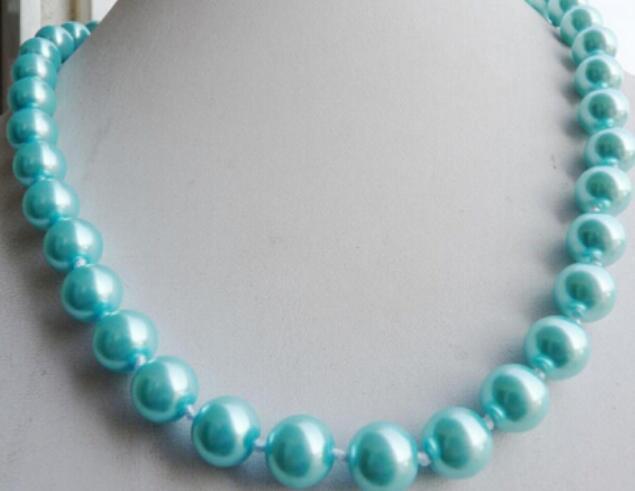 """LIVRAISON GRATUITE + 8mm Collier de perles de mer du Sud bule bule 18 """""""