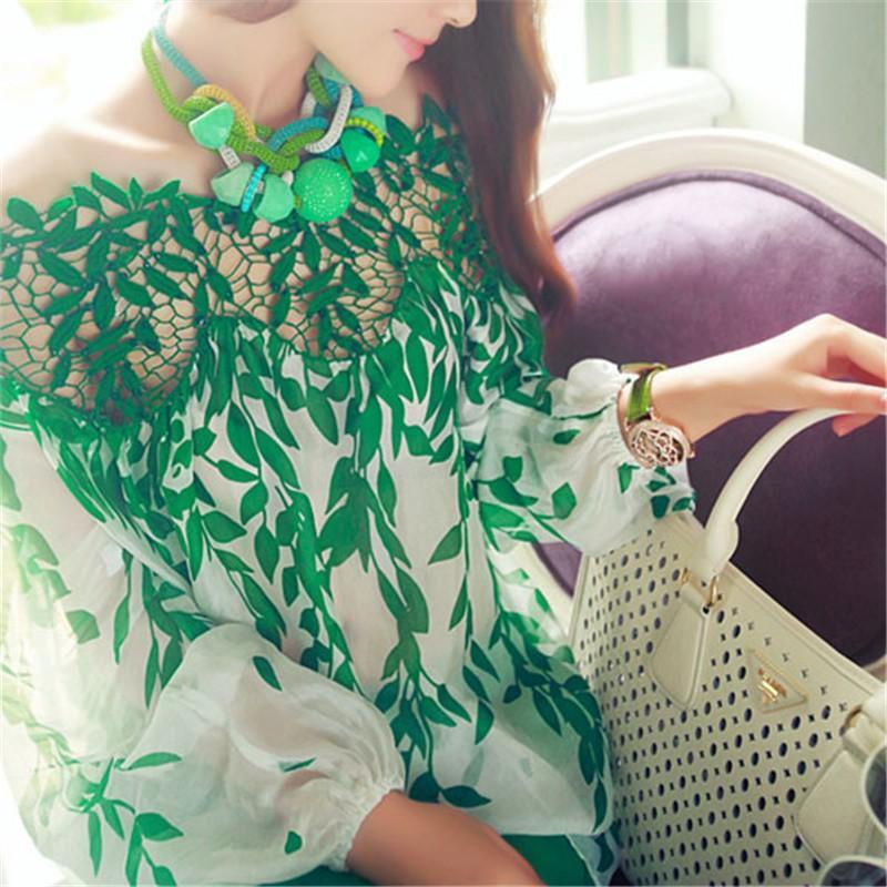 كم من النساء الورقة الخضراء بلوزة الجوف خارج طويل بلوزة سيدة الرباط الكروشيه الشيفون الأعلى كم طويل قميص Blusas