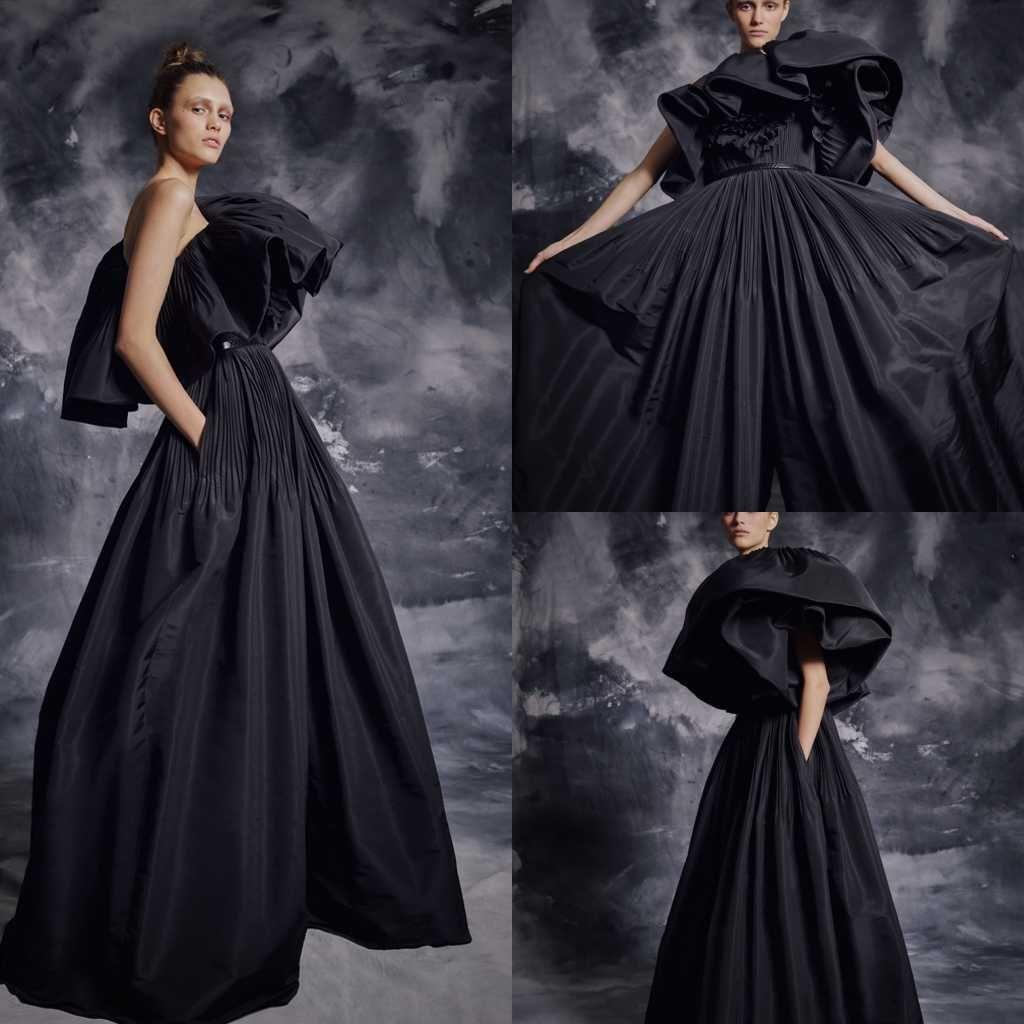 2020 Modest Krikor Jabotian Bir Omuz Kolsuz bir Çizgi Abiye Ruffles Kanat Örgün Elbiseler Tren Parti Elbise Sweep