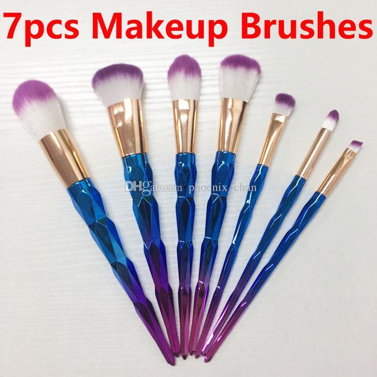 7pcs Makeup Brushes 3D Diamond Set Powder Brush Kits Face Eye Brush Puff Batch ColorfulBrushes Foundation brushes Beauty Cosmetics In stock