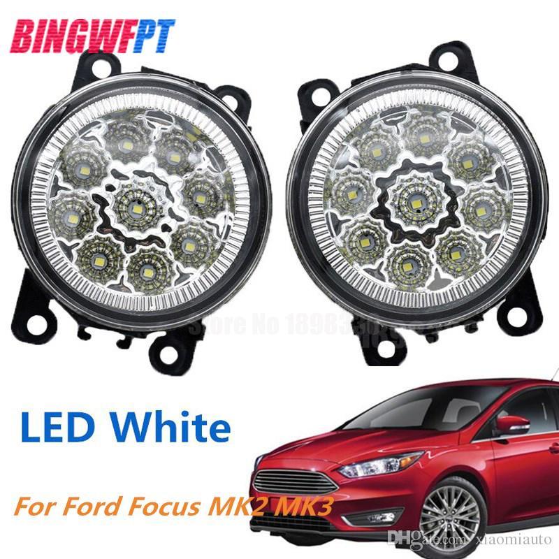 2 STÜCKE LED Nebelscheinwerfer weiß gelb Auto Styling Runde Stoßstange Für FORD FOCUS MK2 2004-2010