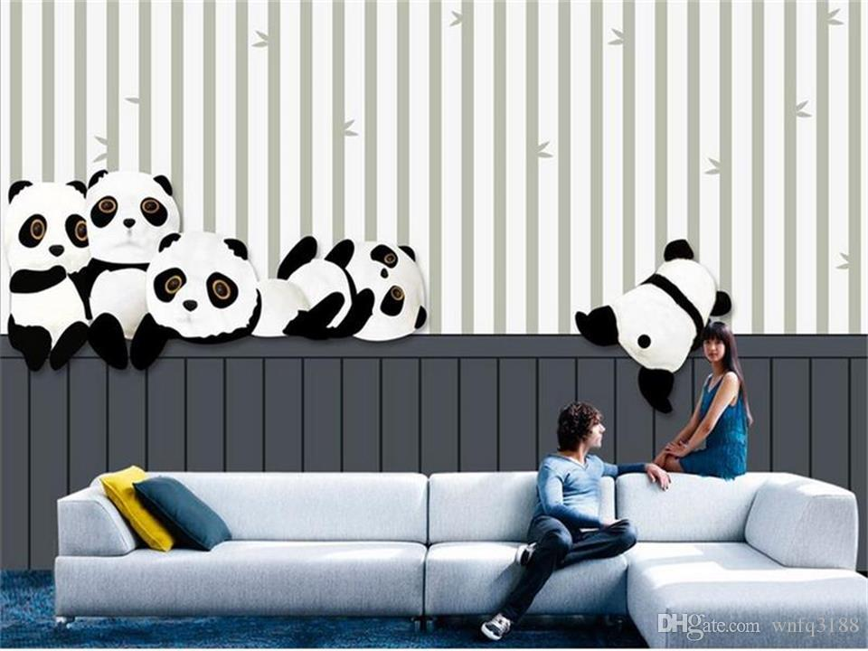 Custom Size 3d Photo Wallpaper Mural Living Room Kids Room Naughty Giant Panda 3d Picture Sofa Backdrop Wallpaper Mural Non Woven Sticker Cartoon