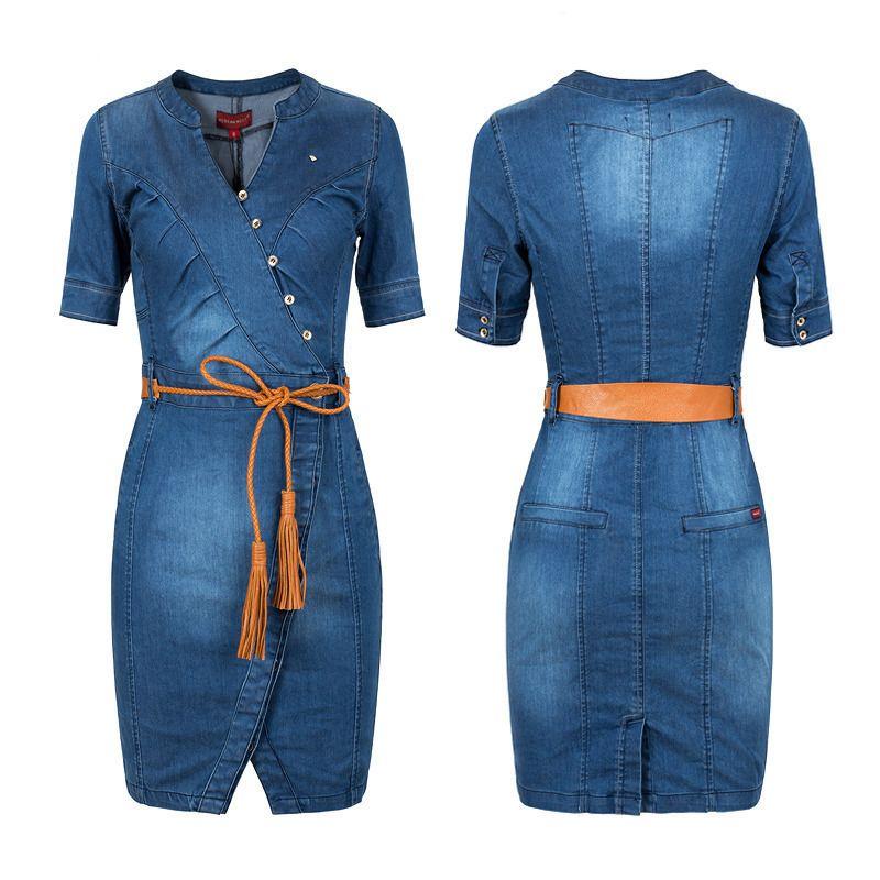 Sexy apertado Mulheres Denim Jeans Vestido Plus Size 2019 Nova verão quente vender Ladies Clothing S-3xl C19041201