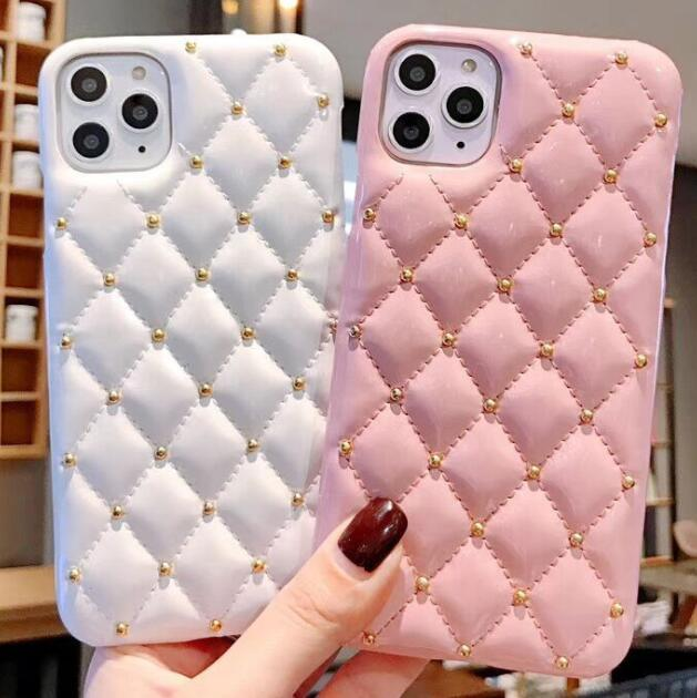 1pcs Phone Case For Iphone 6s 7 8 Xr Xs 11 Pro Max Plus European And American Small Fragrance Style Rivet Leather Protective Case