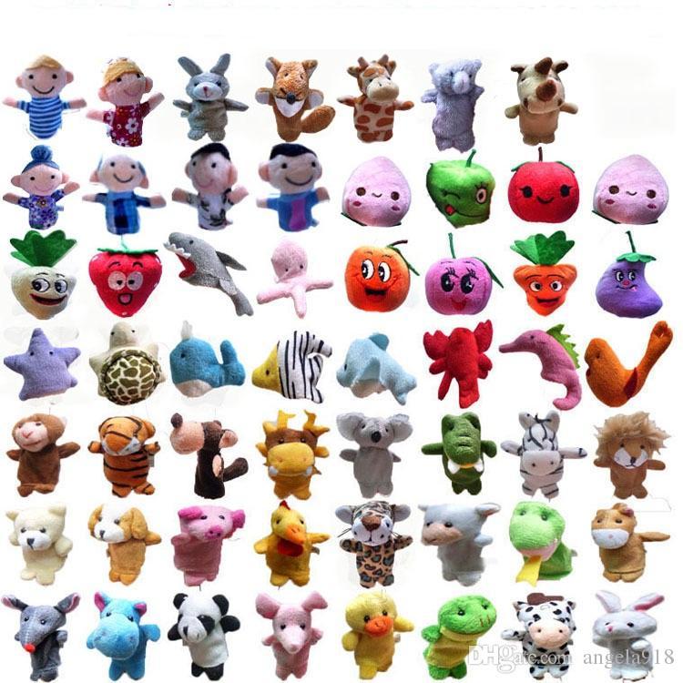55 Styles Marionnette Sets Collection de personnages animaux ensembles de doigtés de fruits de mer, jouets parent-enfant doigt enfants Doll cadeau L180