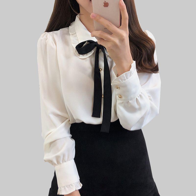 Bow Gömlek Kadın Uzun Kollu Düğme şifon Bluz Kadınlar 2020 Yeni Nakış Bluzlar Kelebek Kol Casual Beyaz Gömlek Femme T200429