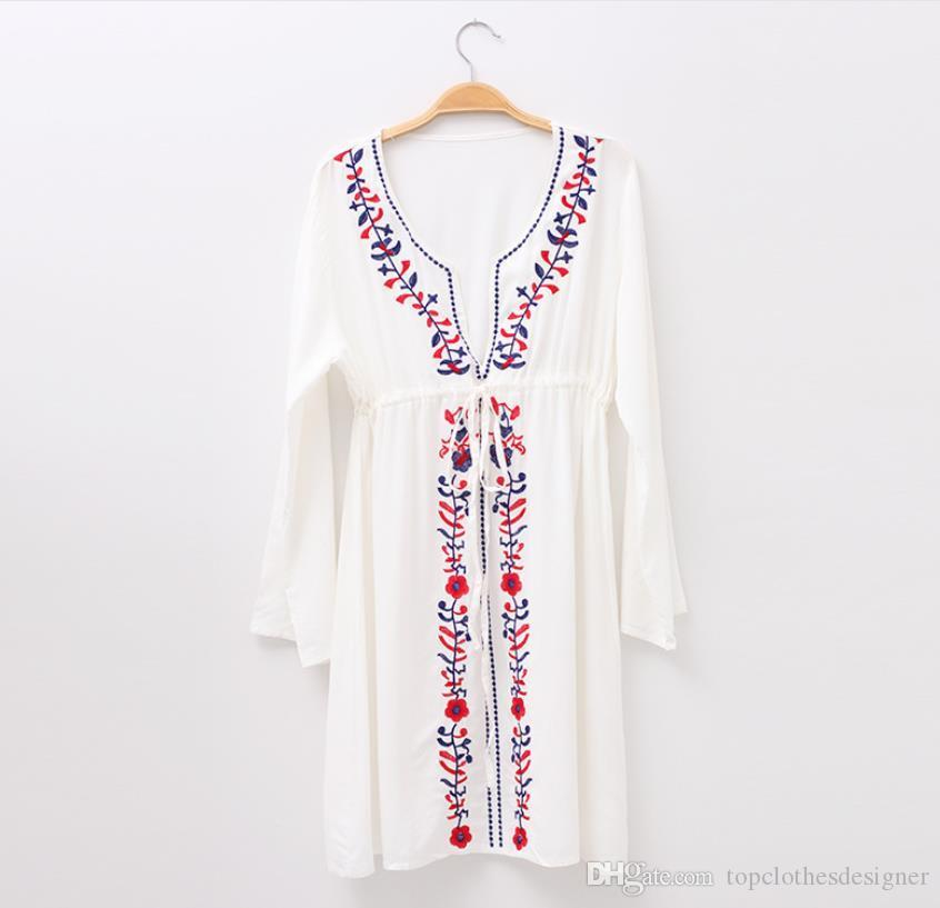 Ethnic Women Stylish White Cover-ups Long Sleeved Casual Beach Holiday Dress Bikini Coverups