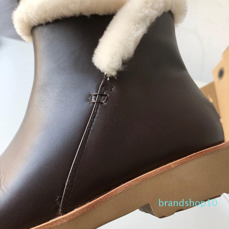 bottes chaudes de la cheville Vente-Wayneflex pour les femmes snowboots cuir véritable fourrure bottes de cow-boy de l'Ouest pour les femmes bottillons rouges 2020