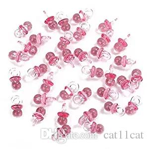 작은 핑크 아크릴 아기 젖꼭지 베이비 샤워 장식 테이블 산란