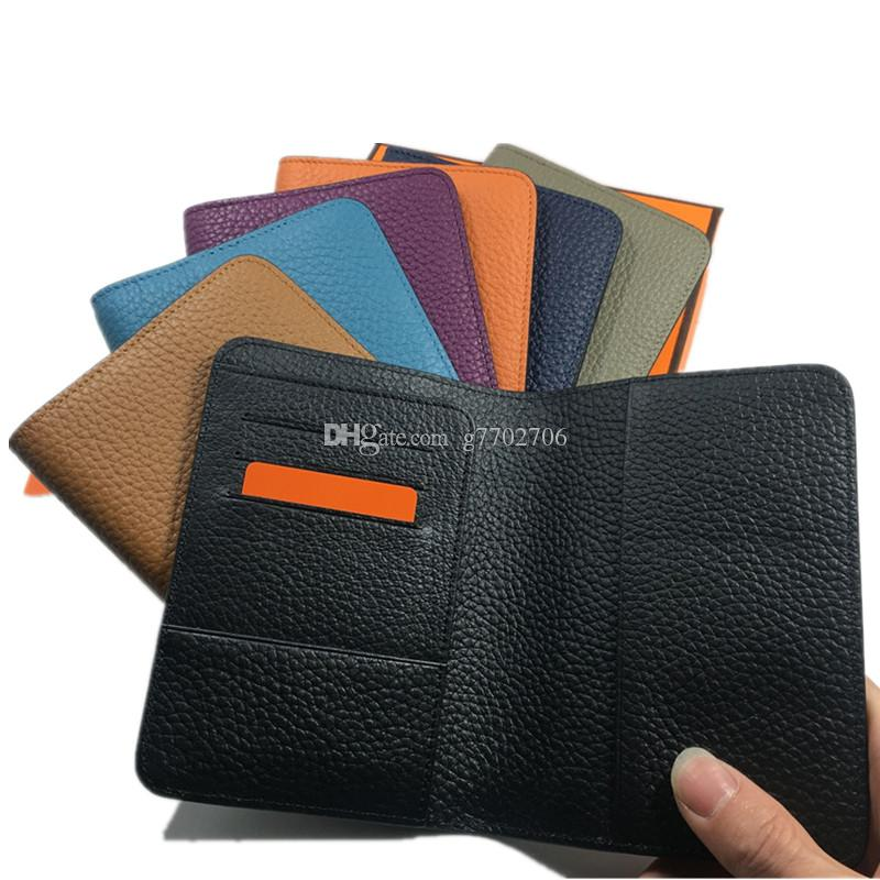 Fashion Women Men Passport Holder Cover Solid Passport Cover for Travel Document Case Real Leather Credit Card Holder Wallet ID Card Case