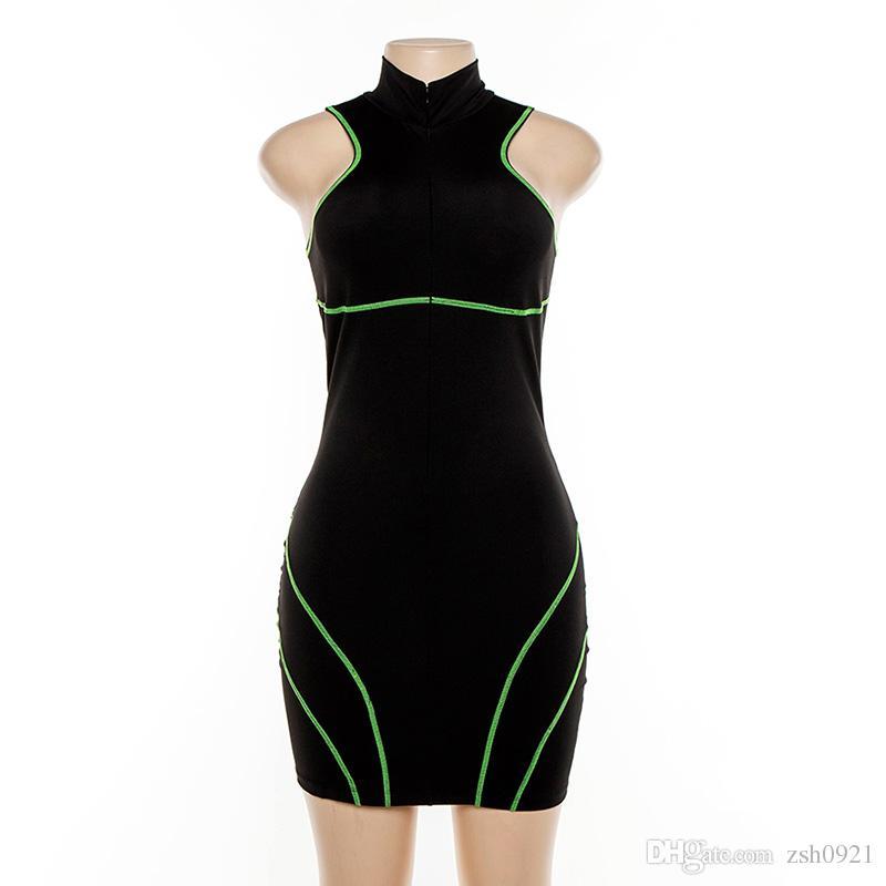 2019 Summer Hot Womens Dress New lady Contrast Color Half Open Collar Sleeveless Slim Bag Hip Sexy Dress D1733791