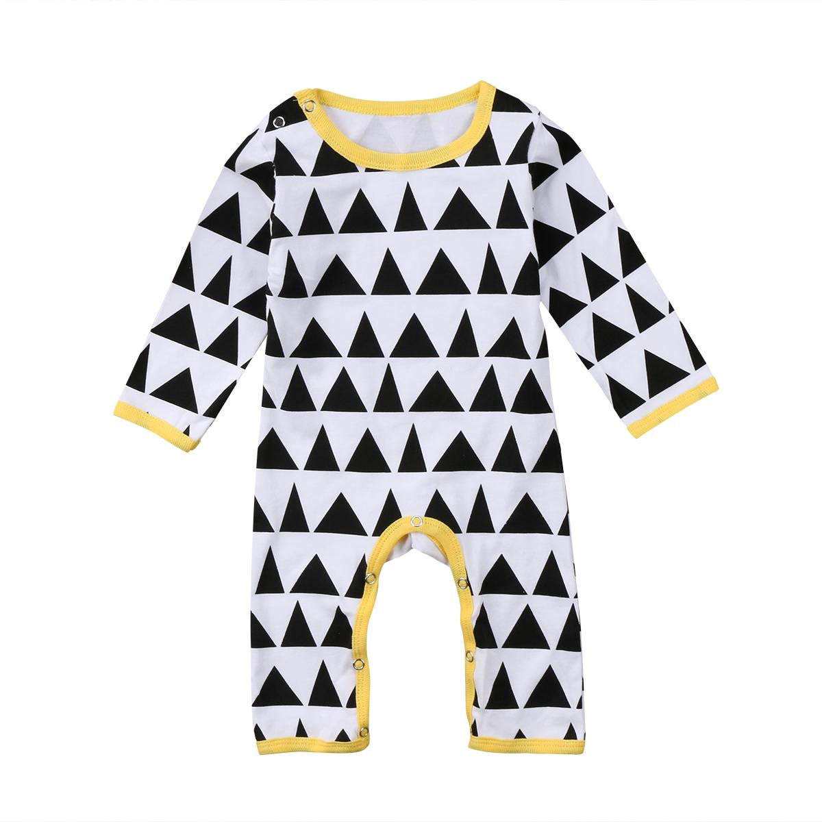 Infant Kids Baby Boy Girl Triangle Tops Clothes Jumpsuit Romper Playsuit Outfit Casual Fashion Long Sleeve Cotton Clothing