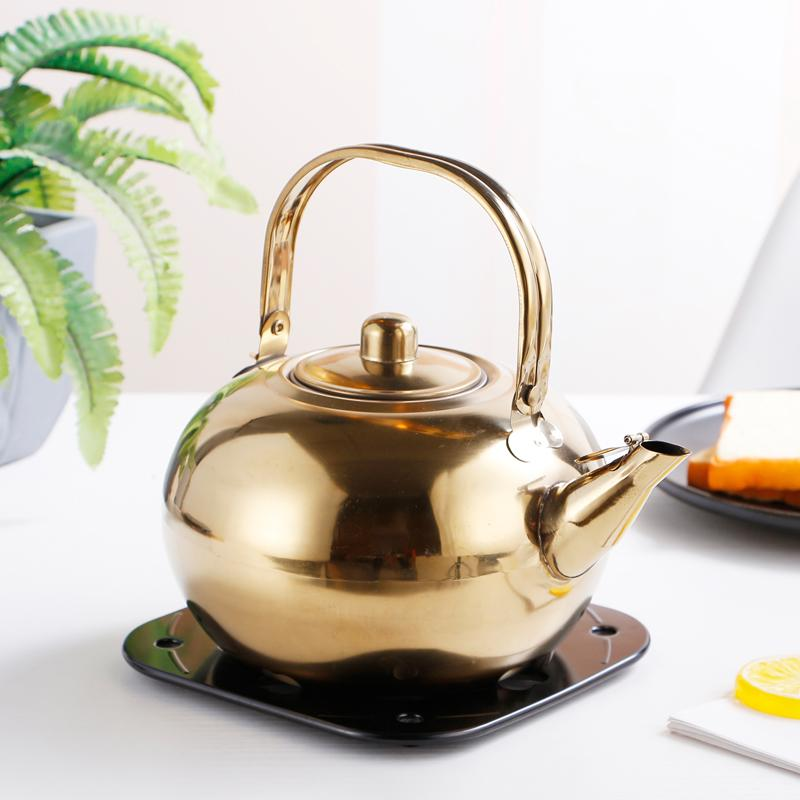 Filtre Nefis Pot Glass ile Otel Küçük Çaydanlık Paslanmaz Çelik Çaydanlık Restoran Otel Tea Kettle Sarı Şarap Şişesi Kettle