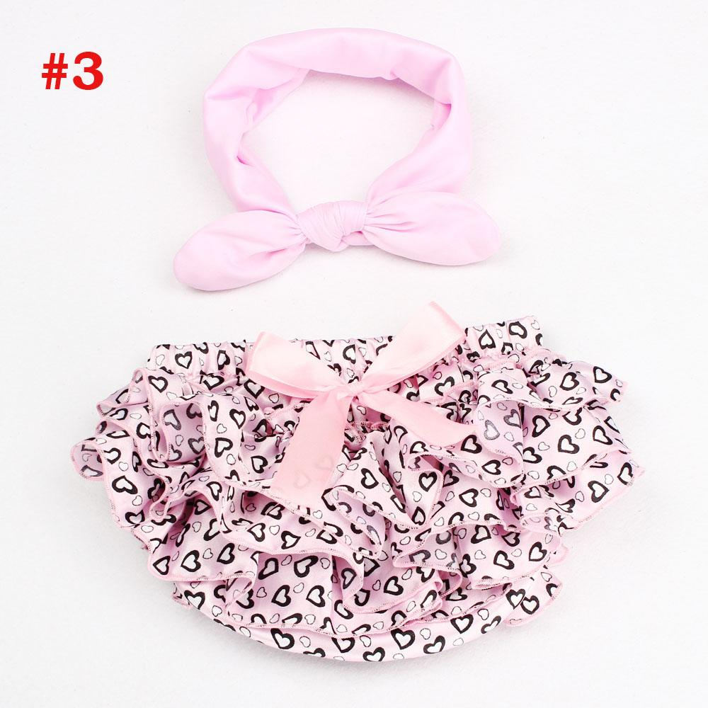Baby Girl Bloomers com flor Headband coração Ruffle infantil Diaper incluir recém-nascido Photo Props equipamento do verão Shorts KS011