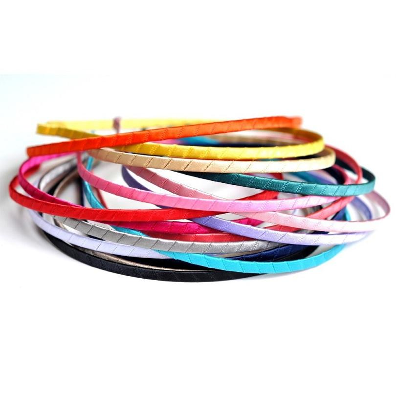 10pcs / porción 16colors 5 mm de ancho de metal duro de las vendas de la cinta de los niños con banda de sujeción para niñas satén Hairbands Cabellos Accesorios de bricolaje