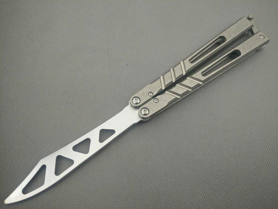kelebek kanal eğitmen bıçak keskin El Sanatları Dövüş sanatları Koleksiyon jilt bıçak D2 bıçak titanyum kol sistemi A1pa burç değil