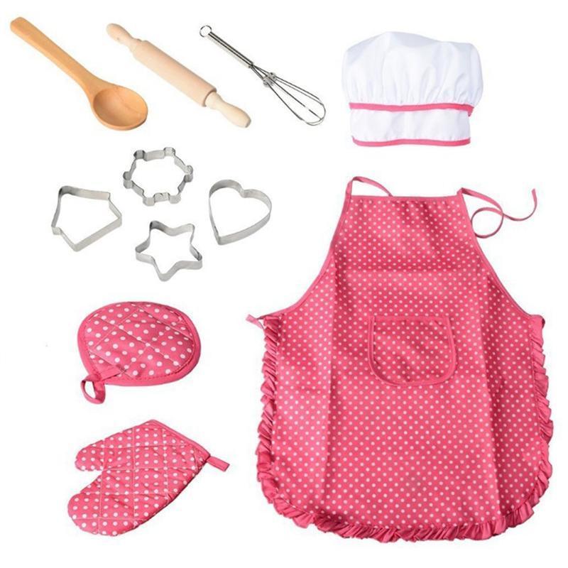 11 Adet Şef Set Koruyucu Komple Toksik Olmayan Hafif Dayanıklı Mutfak Takım Playset Oynayan Çocuklar için Mutfak Pişirme Öğrenme Önlük