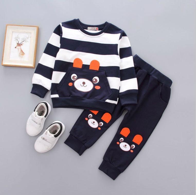 بنين كم طويل البدلة الربيع والخريف الأطفال اثنين من قطعة مجموعة 1-2-3 سنوات قديم الطفل أزياء الأطفال ملابس الأولاد ملابس رياضية
