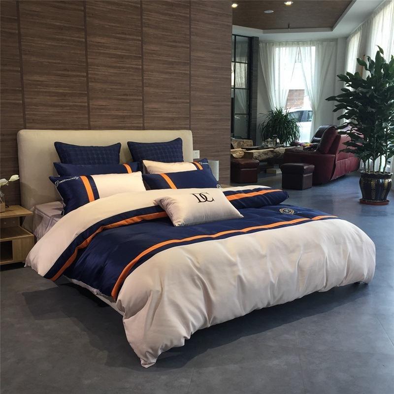 유럽 현대 비즈니스 침구 세탁 실크 버전면 cottonqueen 침대 이불 디자이너 침구 세트 정장 NE 4 개를 커버 이불 세트