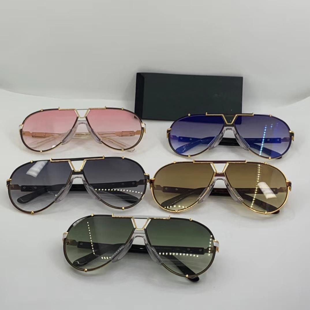 Gafas de sol de moda vintage Gafas de sol Piloto con gafas degradados Negro / Oro 909 Hombres Gris Nuevos lentes Caja de sol Aicqk