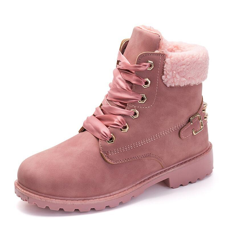 chaussures de marque pour hommes boot Platform Pink Women Boots Lace up Casual Ankle Booties Round Women Designer winter snow boot Ankle V77