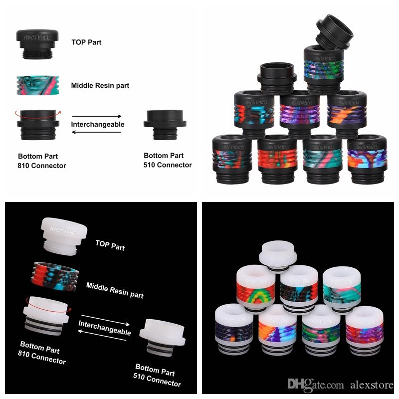 Patent Design 510 810 Drip Tip 2 IN 1 All in One Conversion White Black POM With Resin Interchangeable Connector Mouthpiece AVCT Vape