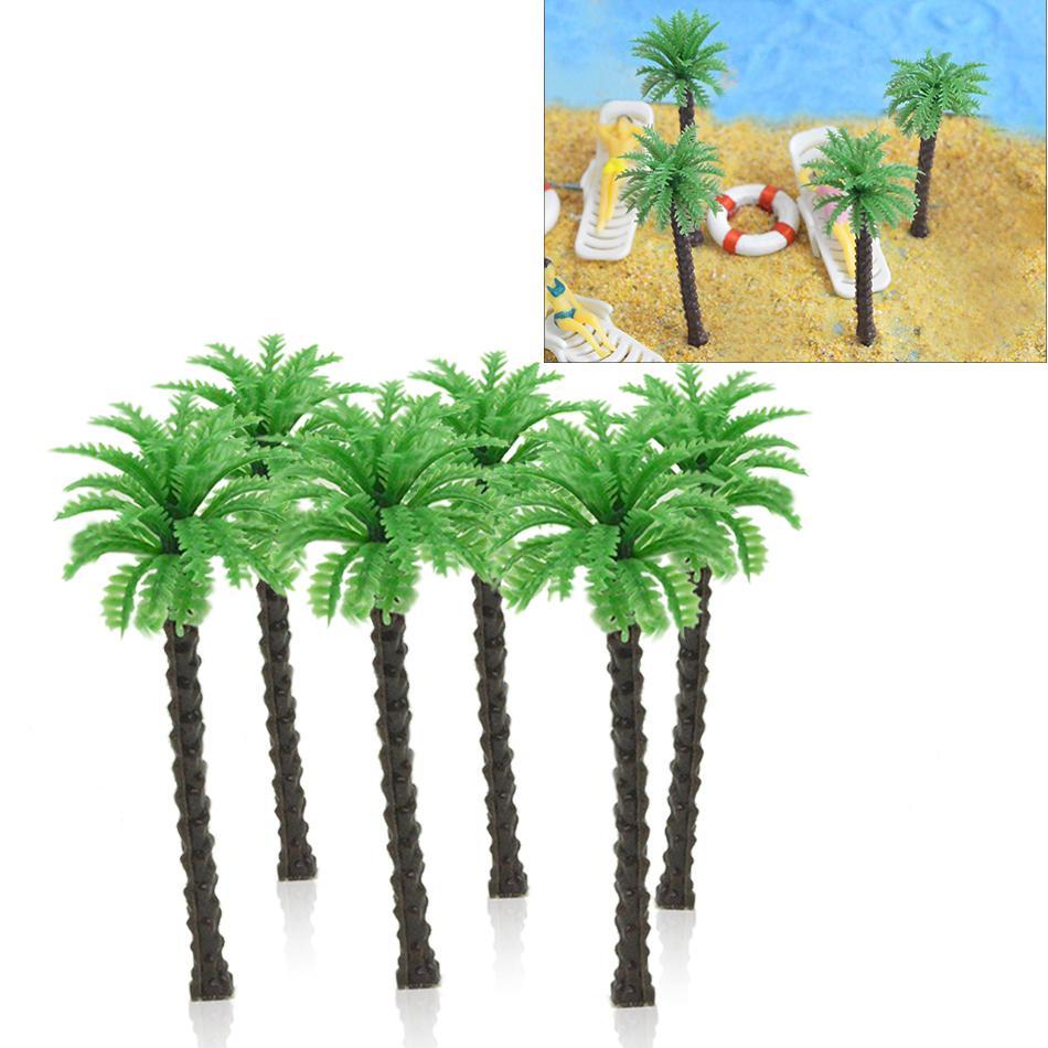 7cm del paisaje en miniatura Arquitectura de bricolaje de plástico palmera del coco verde del tronco del paisaje de modelo de escala para la fabricación de juguetes Disposición Mar
