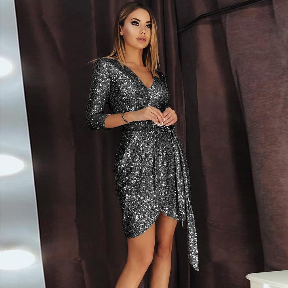 INS paillettes festa di compleanno Dress anni della versione New European scollo a V tre quarti Sleeve Lace-up Dress Vendita