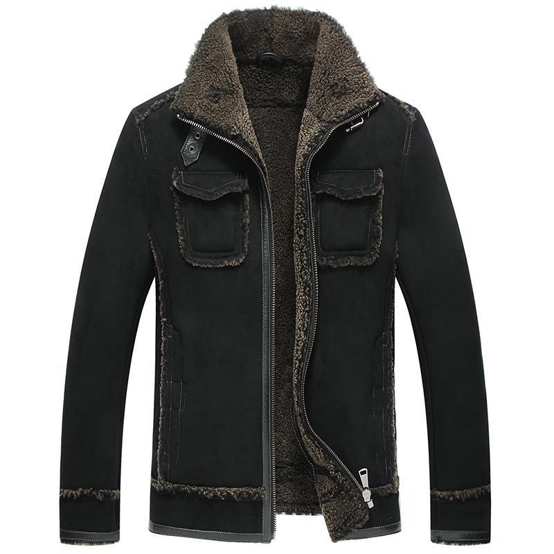 Genuine Leather Jacket Winter Jacket Men Original Real Wool Fur Coats Sheepskin Coat for Men Bomber Jackets Plus Size 5xl MY1770