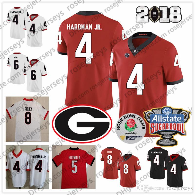 UGA Georgia Bulldogs # 4 Mecole Hardman Jr. 5 Terry Godwin II 6 Javon Wims 8 AJ Green Riley Ridley 2019 Maglia da calcio NCAA