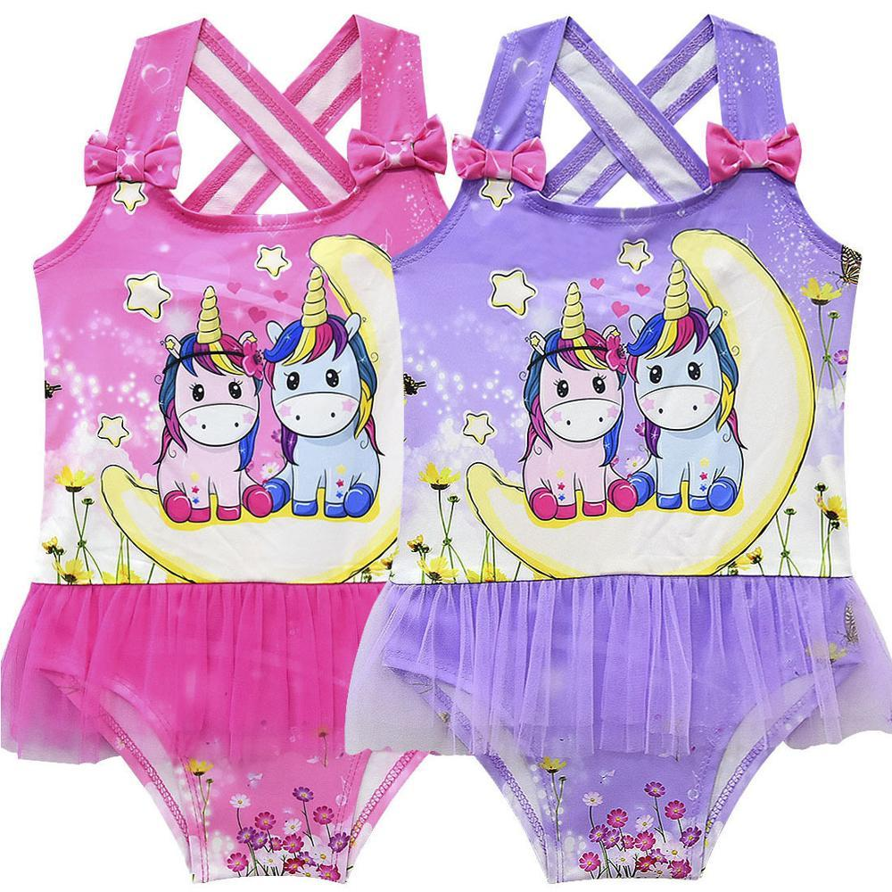 Cartoon Pattern Baby Swimsuits For Girls 3-10 Yrs Children Swimwear Kids One Piece Swimsuit Girl Beachwear Hot Spring Swim Suit