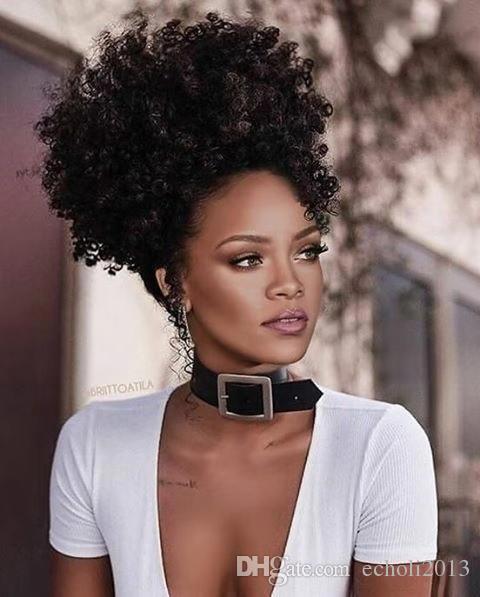 Rihanna afro kinky coda di cavallo parrucchino Clip Capelli remy vergini coulisse coda di cavallo Estensioni dei capelli naturale grande soffio capelli coda di cavallo humain