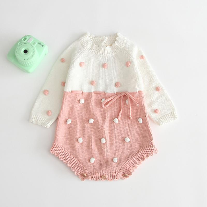 (3M-3Y) Children's long-sleeved warmth here, bow knot ball knitting robe romper bag fart warmth sweater crochet tight ropa S4