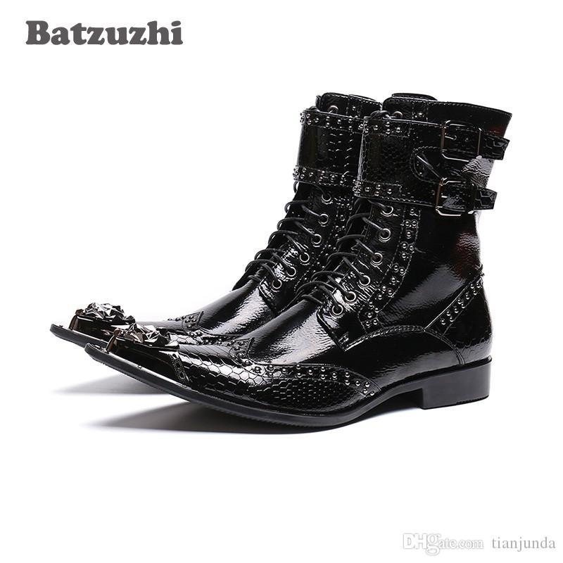 NUOVO 2019 stivali occidentali uomini punta punta in metallo rock nero stivali da moto militare uomo botas hombre fibbie zapatos de hombre, 46