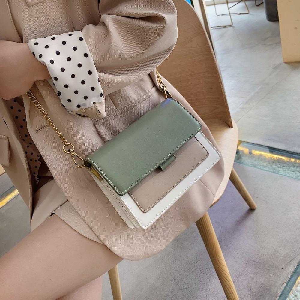 Mini-Leder-Umhängetasche-Beutel für Frauen 2020 Grüne Kette Schulter Messenger Bag Lady Reisegeldbeutel und Handtaschen Umhängetasche