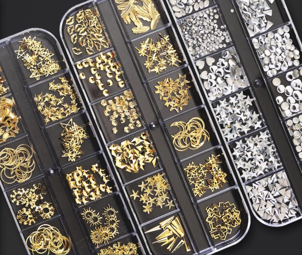 Multi-size diamanti di cristallo 3D di arte del chiodo Decorazioni 1 scatola della gemma pietre per i monili del chiodo della decorazione del Rhinestone Nails