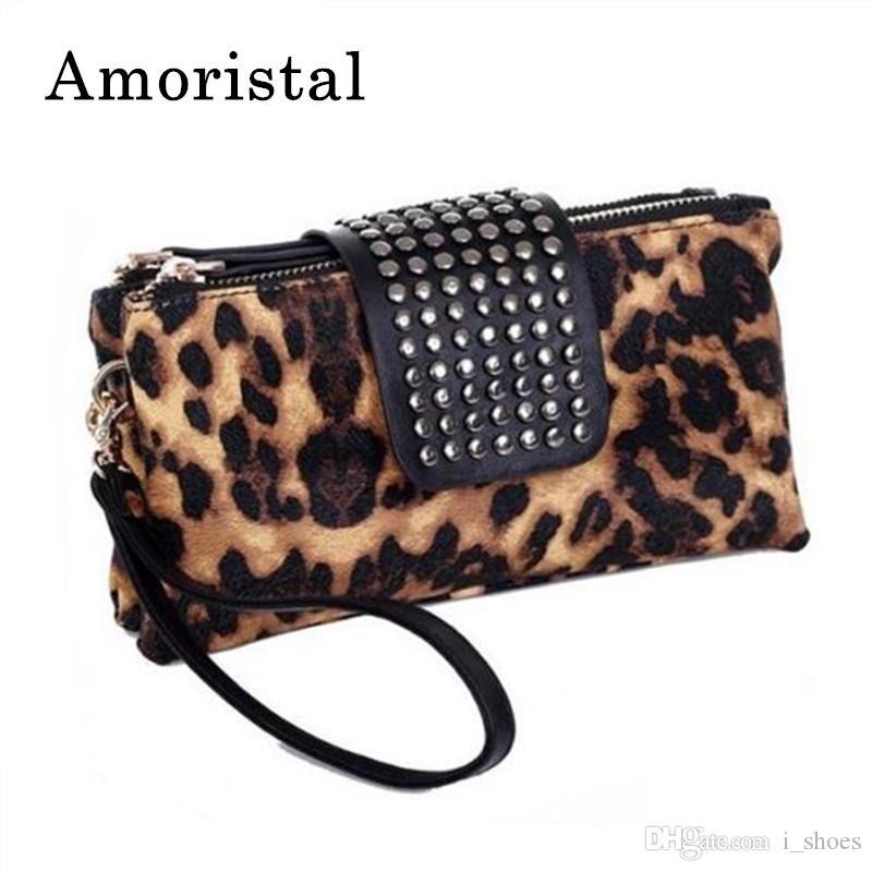 Leopard Print Clutch Bag Design Women Rivet Zipper Handbag Wallet Holder Card Coin Clutch Purse Wristlet Evening Bag Gifts B163 #193403