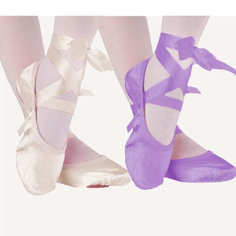 Professional lady girl women split sole purple satin soft ballet dance shoes
