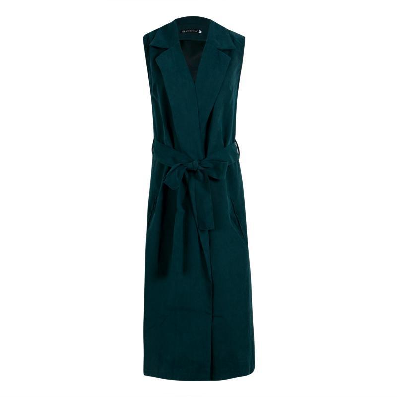 السيدات أكمام الشلال الأخضر التلبيب طويل سترة سترة معطف صدرية الملابس