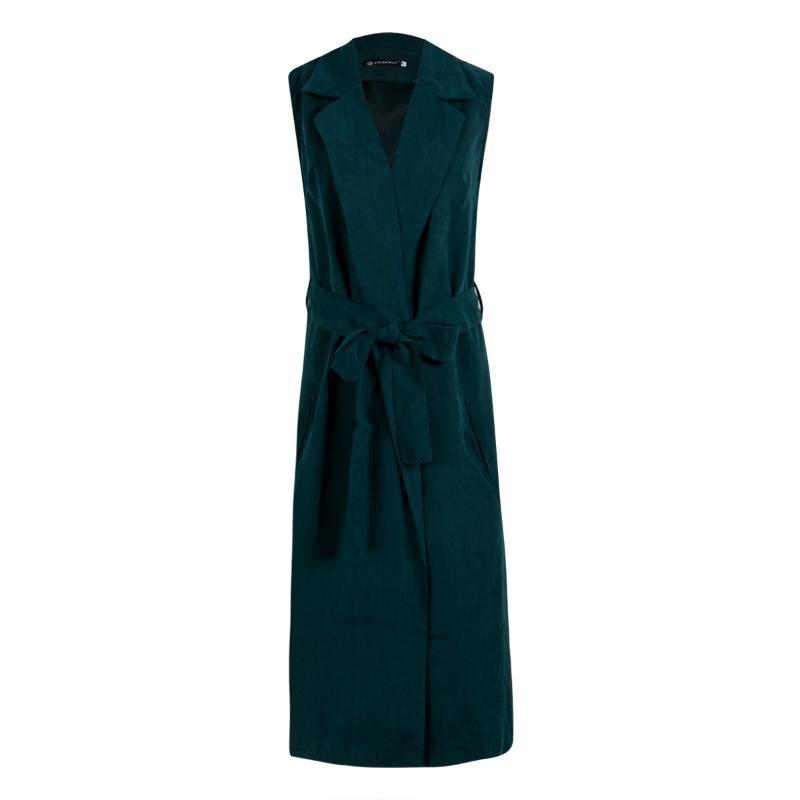 Women Ladies Sleeveless Waterfall Cape Lapel Long Cardigan Jacket Coat Waistcoat Clothes