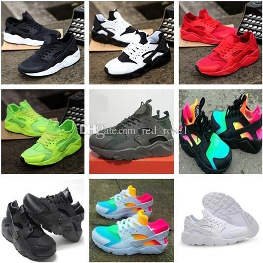 2019 Huarache Sneakers Hombres Mujeres Niños Grandes Colorido Negro Blanco Huarache Blue Zapatillas de deporte Zapatillas de deporte Triple Huaraches Athletic Sports Shoes