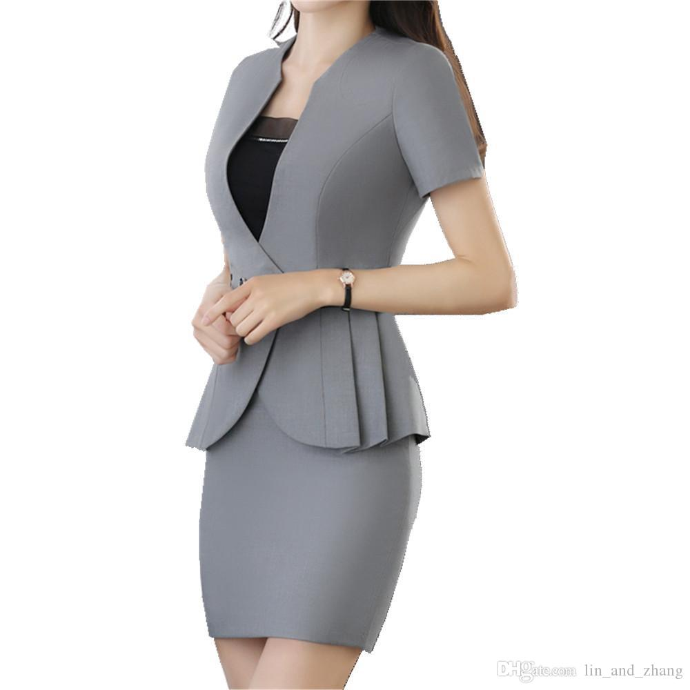Hot Women Plus Business Suit Summer Short Sleeve Ruffle Blazer Grey and Grey OL Skirt 2 Pcs Career Suits for Women ow0336