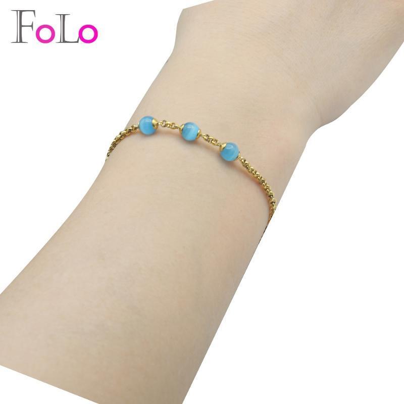 Pulsera de acero inoxidable 316L FOLO para la joyería Mujeres Ronda de piedras preciosas de moda para los regalos de compromiso de Corea del accesorio del partido