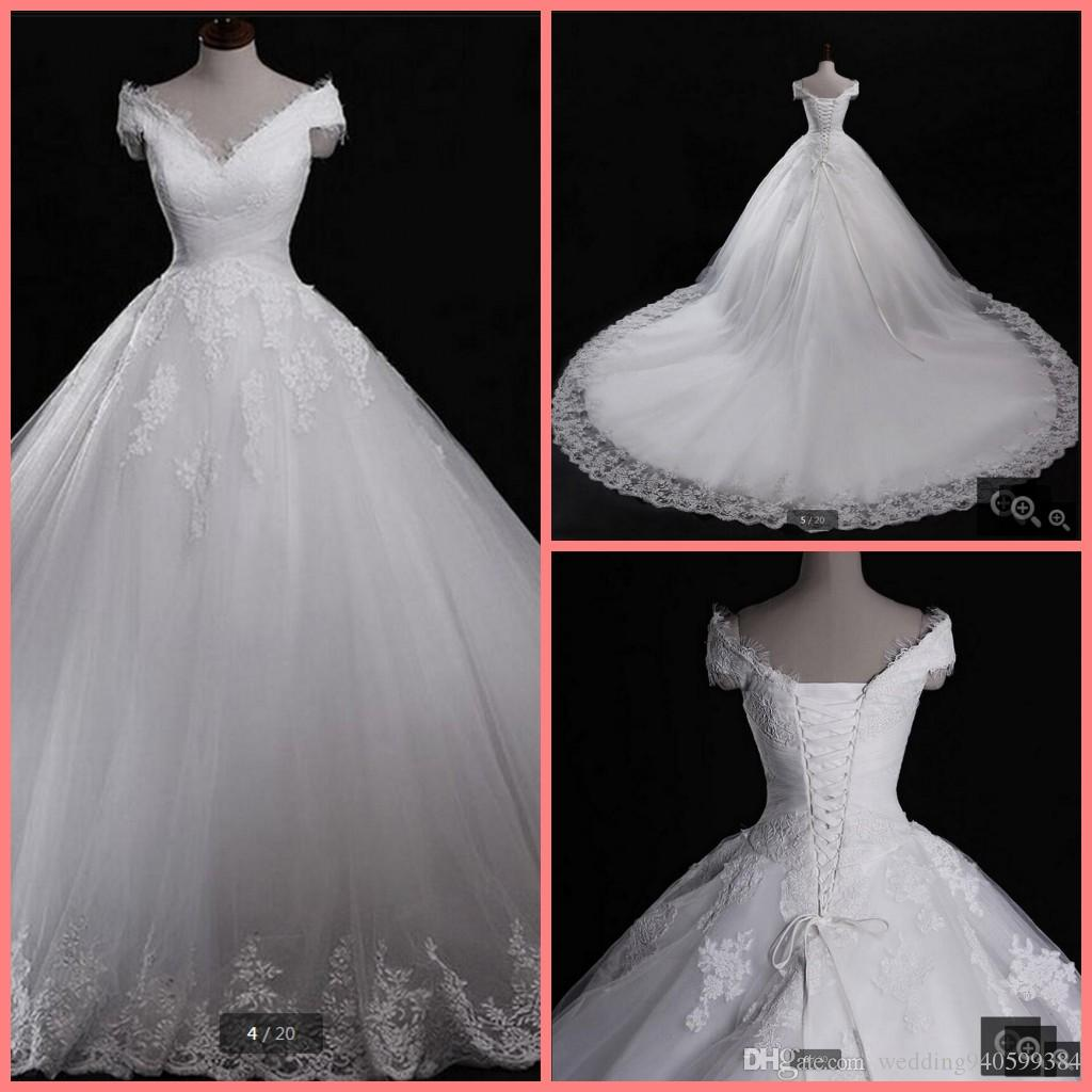 Robe de mariage Real Pictures 2016 Ball Gown v neck short Sleeve Appliques Bridal Dresses vestido de noiva Lace Cheap Wedding Dress hot sale
