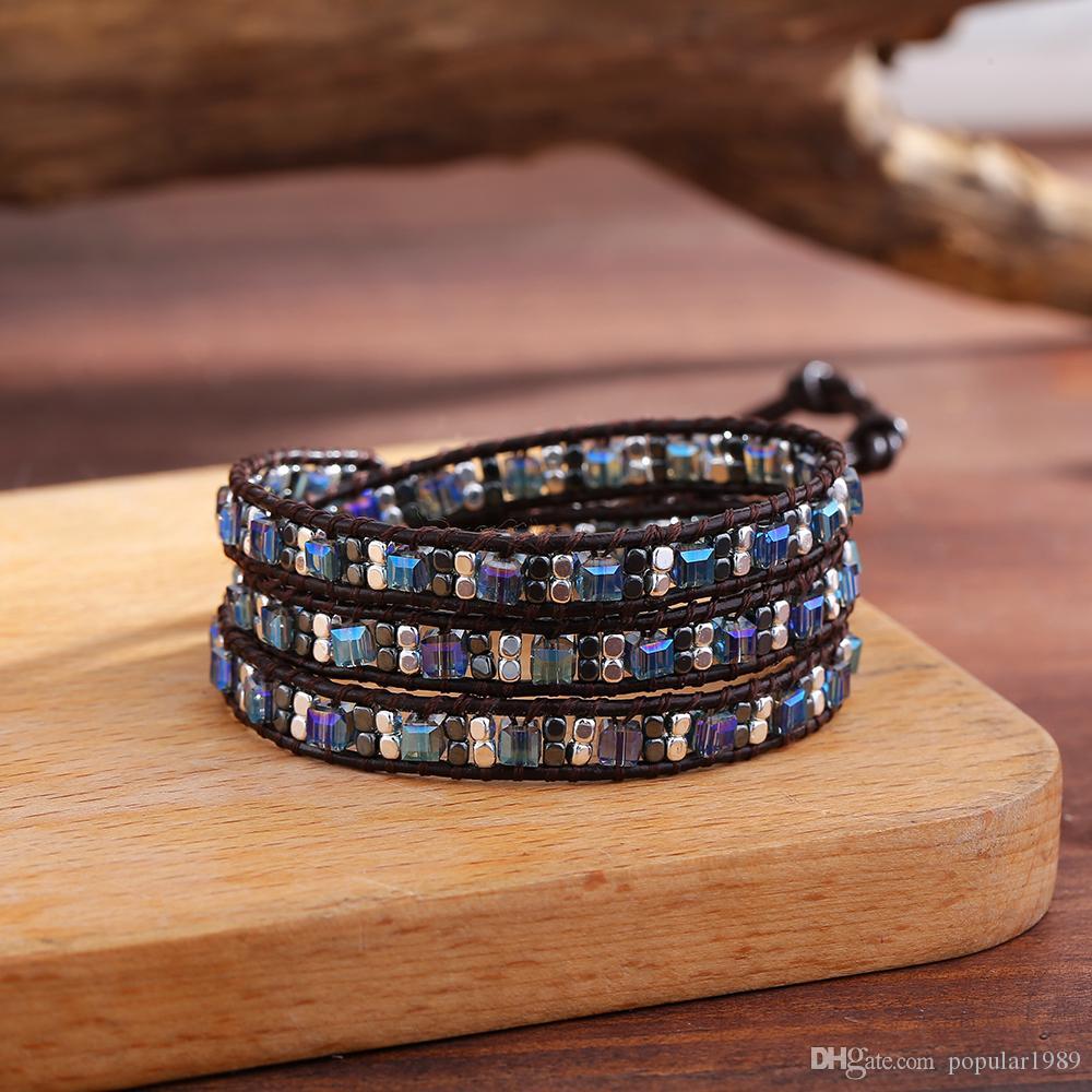 Quadratisch Blau Kristallverpackungs-Armband für Frauen-Spiel Geometrische Legierungs-Korn-Ethnic 3layers Perlen Armbänder Boho Femme Schmuck handgemachtes Geschenk