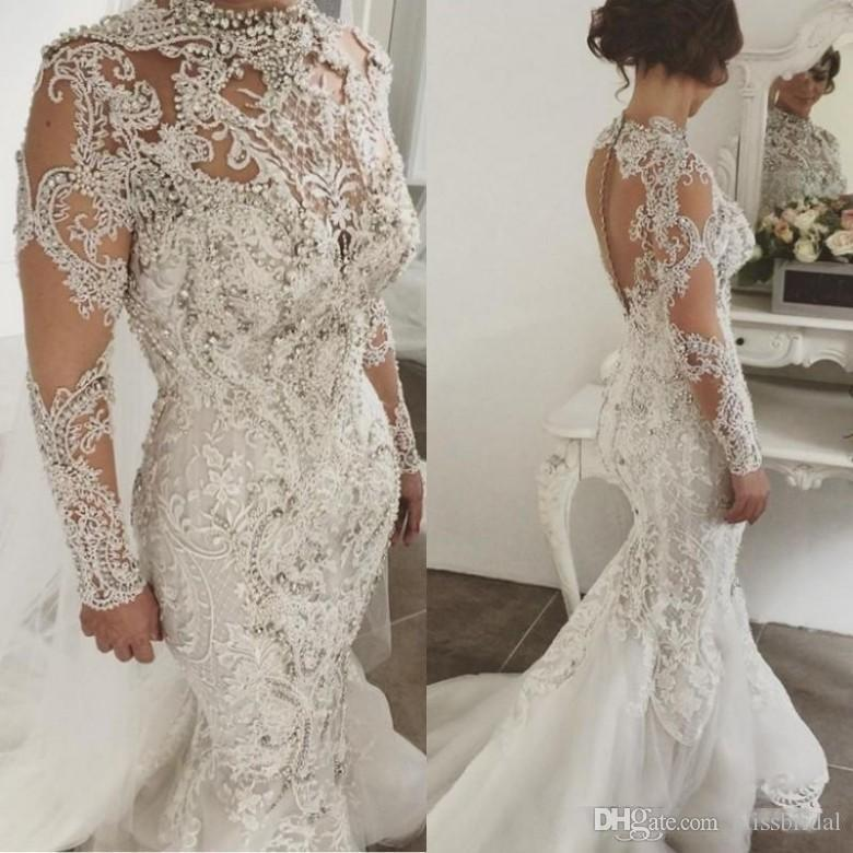 Luxury Crystal Beaded Mermaid Wedding Dresses High Neck Sheer Button Back Lace Applique Bridal Gowns Long Sleeves Wedding Dress