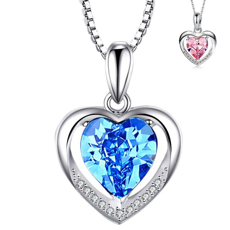 Colgante de cristal azul en forma de corazón de amor Collar de corazón eterno Accesorios de joyería Estilo de mujer